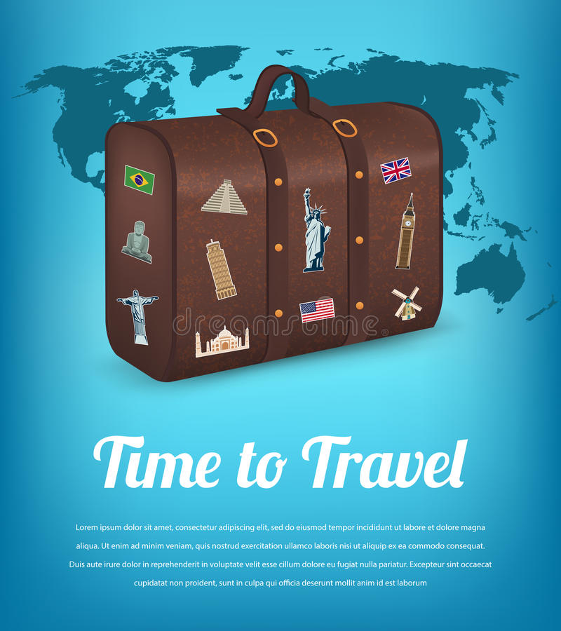 Vintage suitcase with collection of travel labels. Travel and Tourism. Travel background. Vector stock illustration