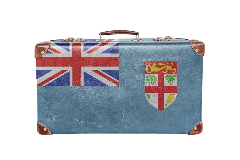 Vintage suitcase with Fiji flag royalty free stock photos