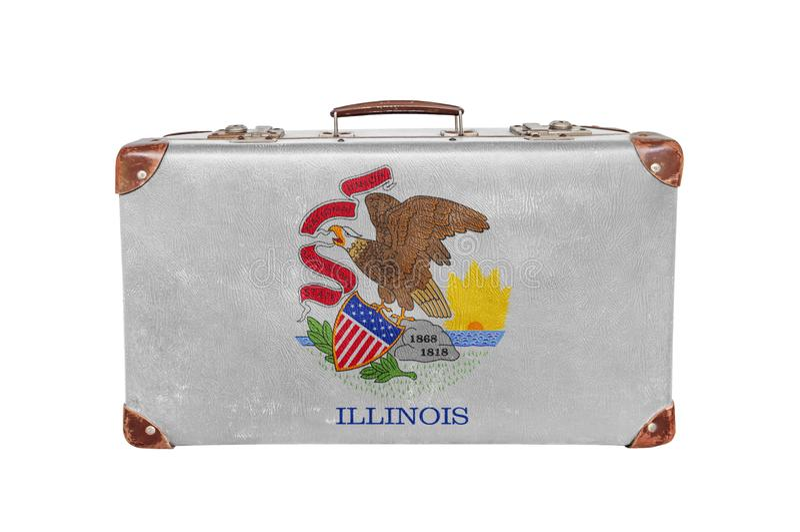 Vintage suitcase with Illinois flag royalty free stock photo