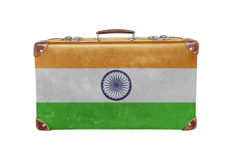 Vintage suitcase with India flag. Close royalty free stock image
