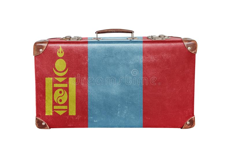 Vintage suitcase with Mongolia flag stock images