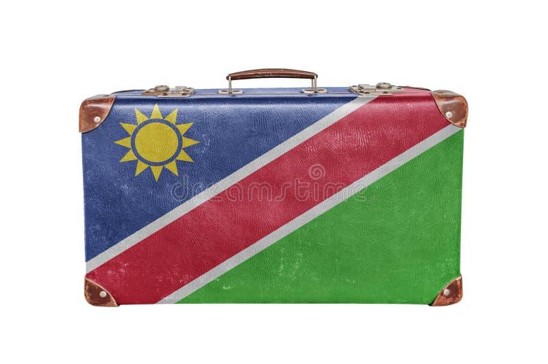 Vintage suitcase with Namibia flag stock photo