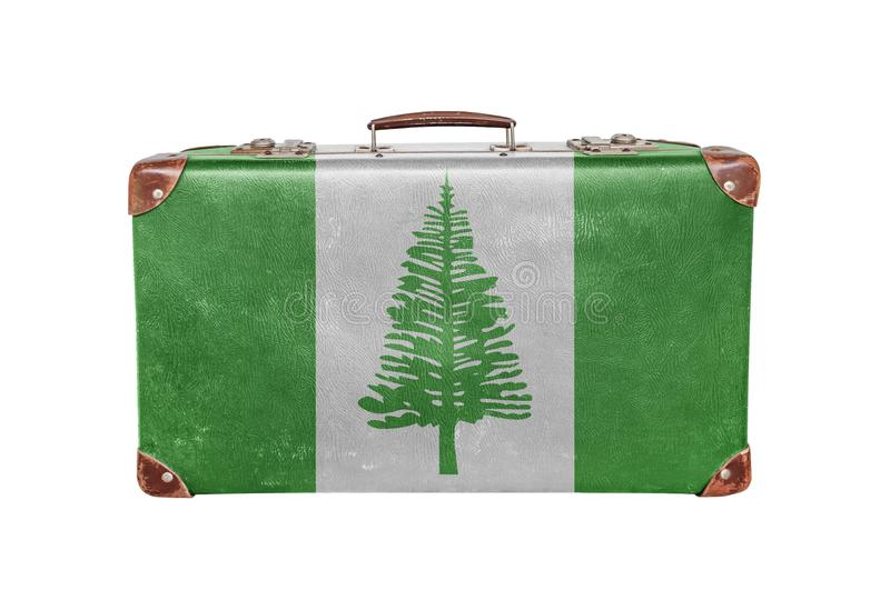 Vintage suitcase with Norfolk Island flag stock images