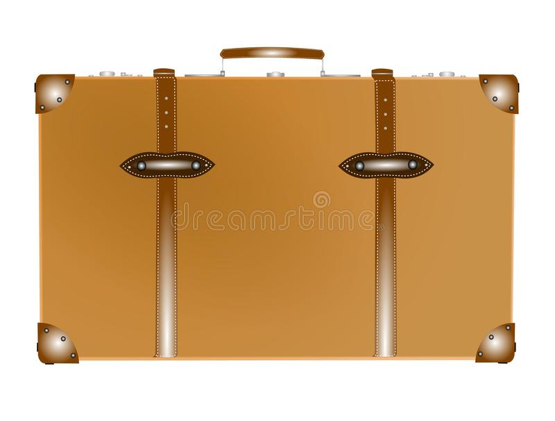 Vintage suitcase. Old suitcase from the forties and fifties in caramel color stock illustration