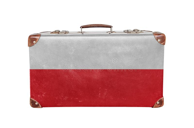 Vintage suitcase with Poland flag stock images