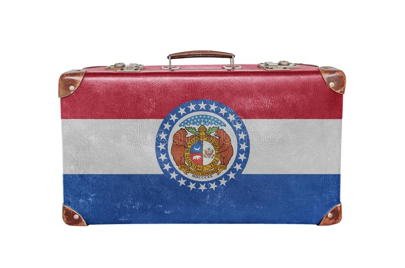 Vintage suitcase with Missouri flag stock images