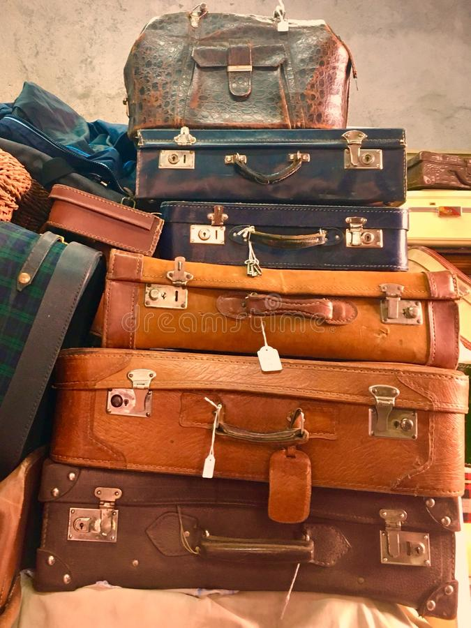Vintage suitcases luggage tower stock images