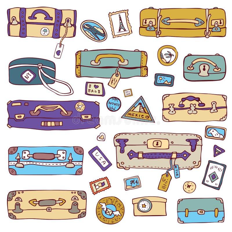 Vintage suitcases set. Travel Vector illustration. Vector Collection of vintage suitcases. Travel Illustration royalty free illustration