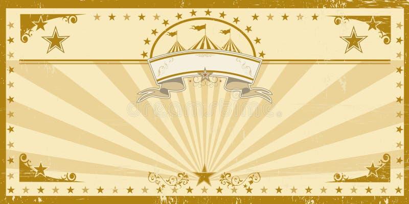 Vintage sujo do cartão marrom do circo ilustração royalty free