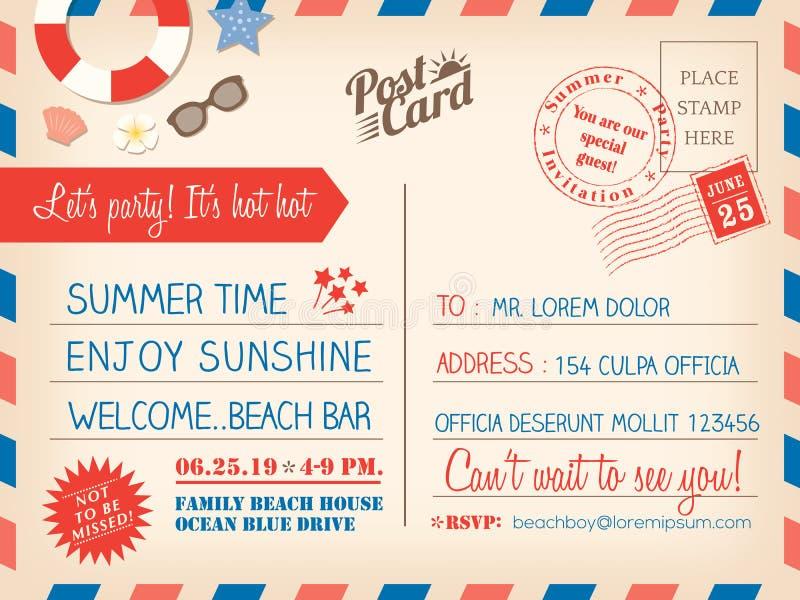 Vintage summer holiday postcard background template for invitation card royalty free illustration