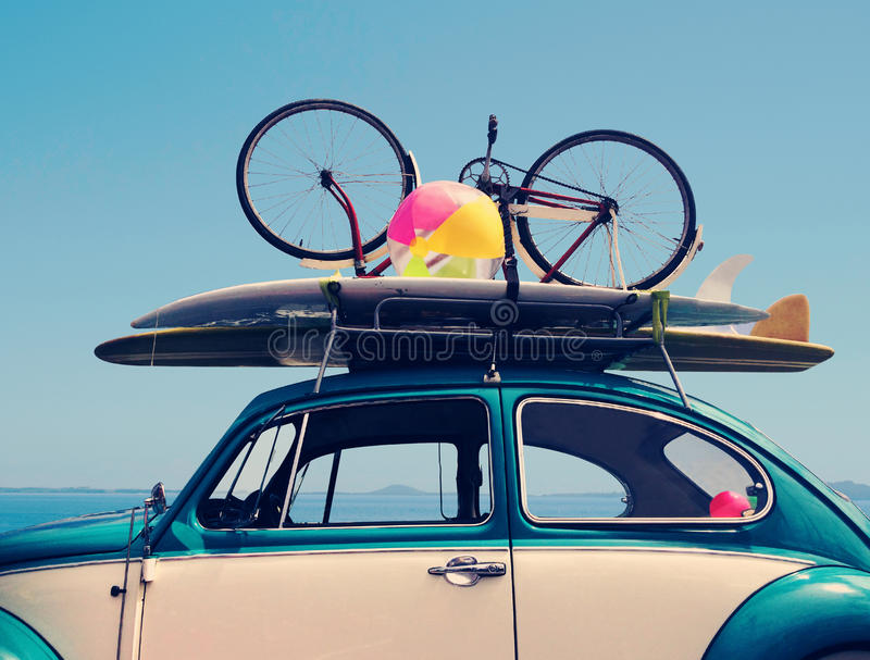 Vintage summer holiday road trip vacation stock images