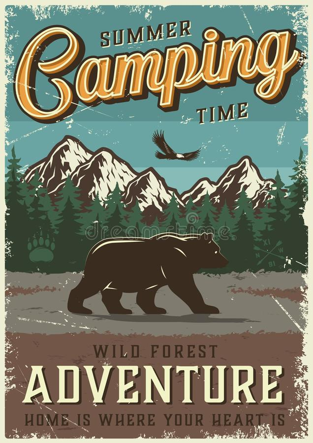 Vintage summer outdoor recreation poster. With walking bear flying bird mountains and forest landscape vector illustration royalty free illustration