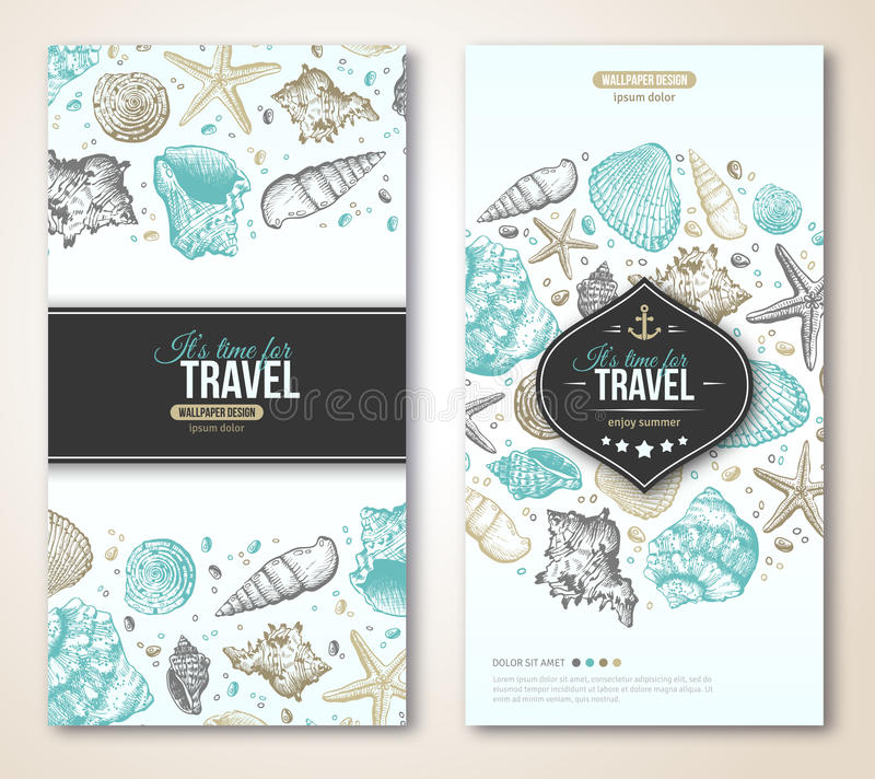 Vintage Summer Sea Shells Banner Design. Vector Background with Seashells, Seastar and Sand. Hand Drawn Etching Style. Place for Your Text. Travel Flyer stock illustration