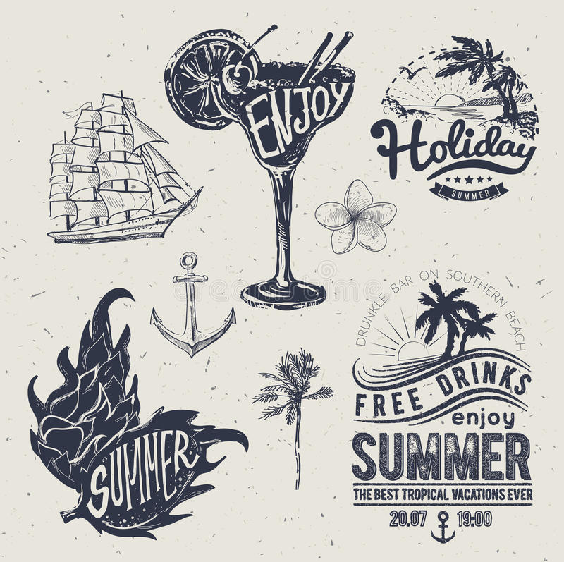 Vintage summer typography design with labels, i. Cons elements collection vector illustration