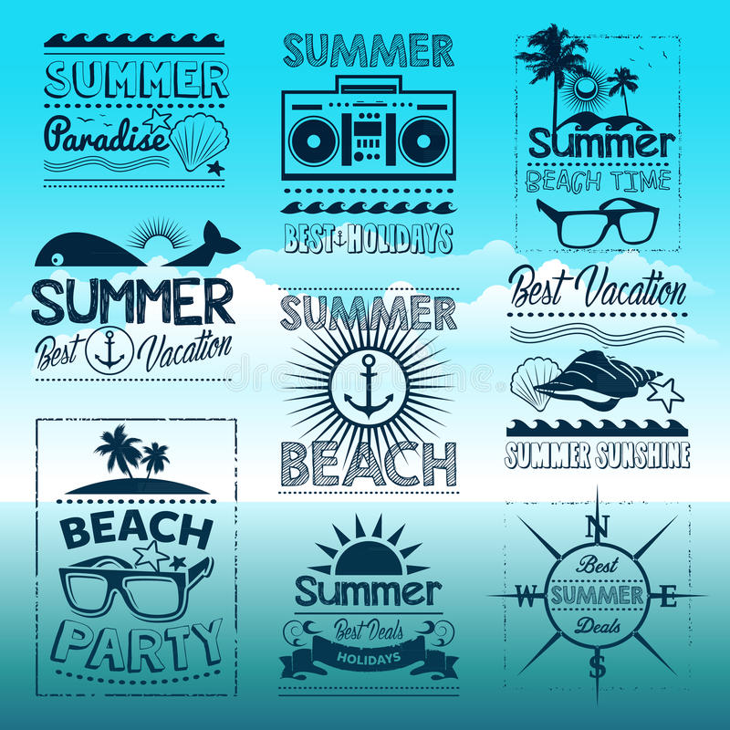 Vintage summer typography design with labels. Icons elements stock illustration