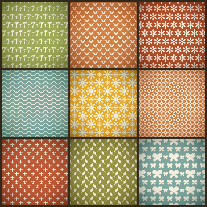 Vintage summer vector seamless patterns (with. Swath, tiling). Retro red, blue, green, yellow shabby colors. Endless texture can be used for printing onto royalty free illustration
