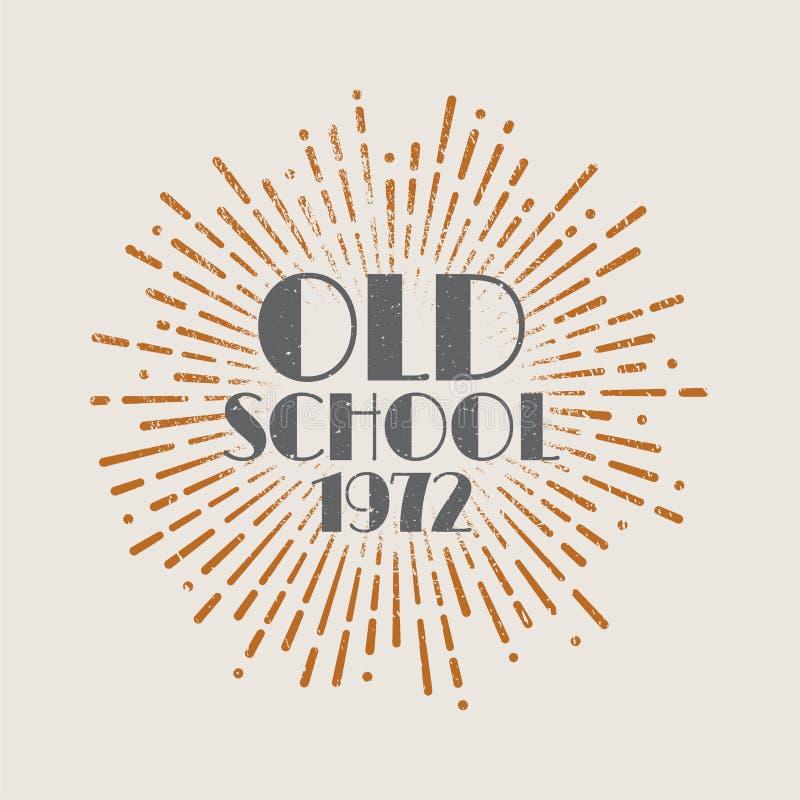 Vintage sunburst abstract retro label Old school. Vector illustration stock illustration