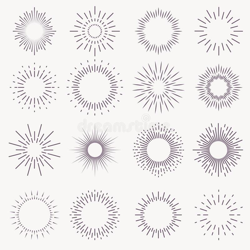 Vintage sunburst. Bursting rays sunrise firework starburst blast burst sunset star light ray radiant spark hand drawn. Trendy vector badge set royalty free illustration
