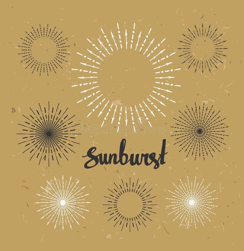 Vintage sunburst collection. Hipster style on the craft paper. Vector illustration stock illustration