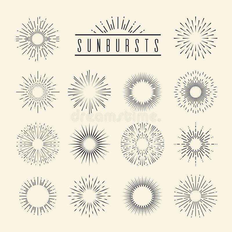 Vintage sunburst. Hand drawn geometric sunrise firework sunset blast sunbeam burst sunshine sun ray shape decorative vector illustration