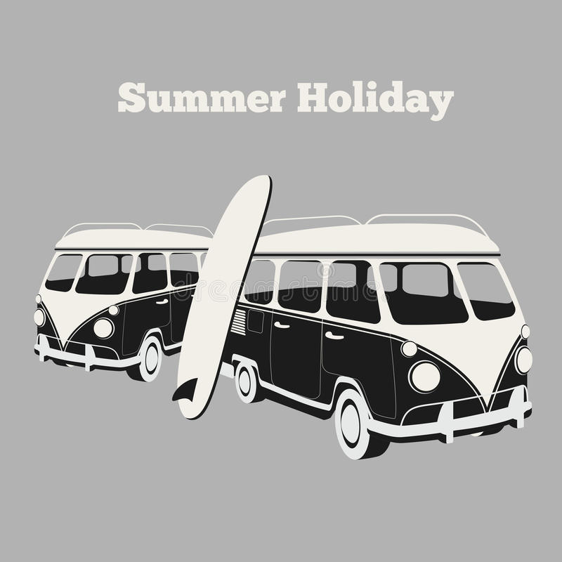 Vintage surf poster. Van and surfing, design car, vacation and travel camping, surfboard and sport, vector illustration vector illustration