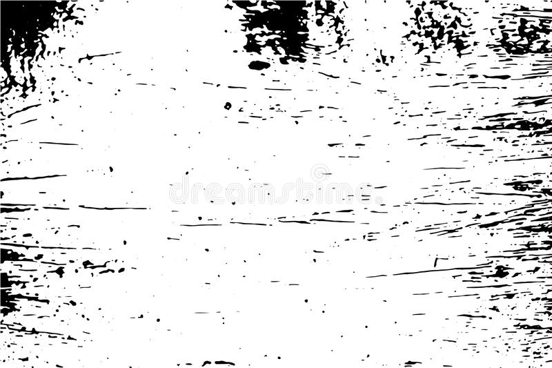 Vintage surface with black stains illustration. Distressed texture of old wood wall with paint stains. Black and white trace texture of timber.Natural old stock illustration
