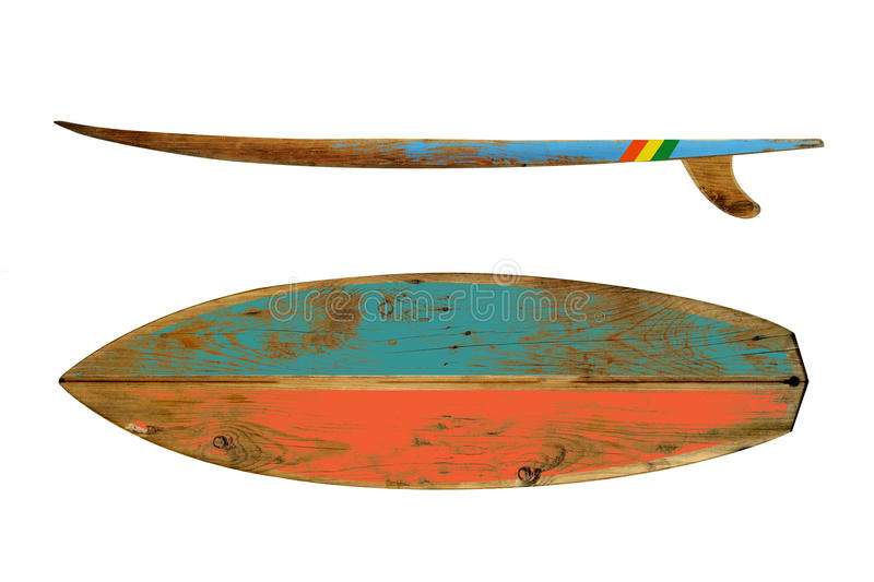 Vintage surfboard. Isolated on white - Retro styles 60`s stock photography