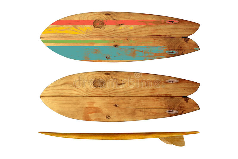 Vintage surfboard isolated on white stock images