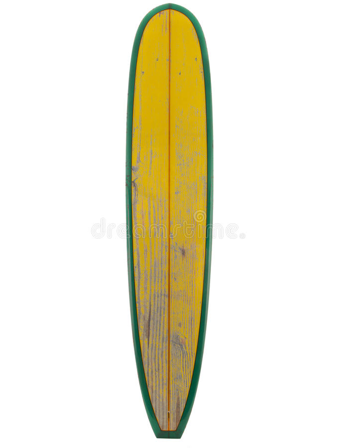 Vintage surfboard yellow color isolated on white stock image