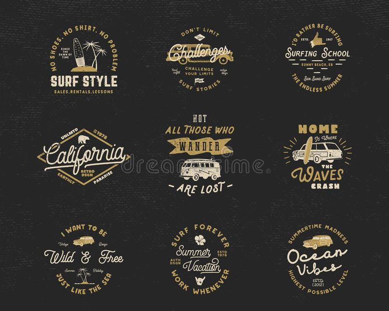 Download Vintage Surfing Graphics And Emblems Set For Web Design Or Print Surfer Logo Templates