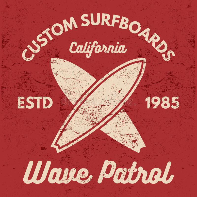 Vintage Surfing tee design. Retro t-shirt Graphics and Emblems for web design or print. Surfer, beach style logo design. Surf Badge Surfboard seal, elements stock illustration