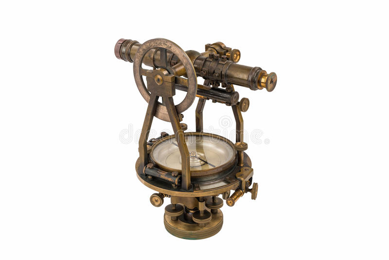 Vintage Surveyors Level (Transit, Theodolite) with Compass isolated on White. royalty free stock photography