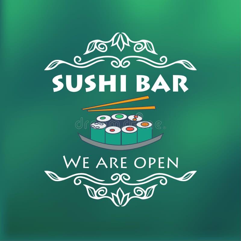 Vintage sushi bar signage. Vector illustration for design royalty free illustration