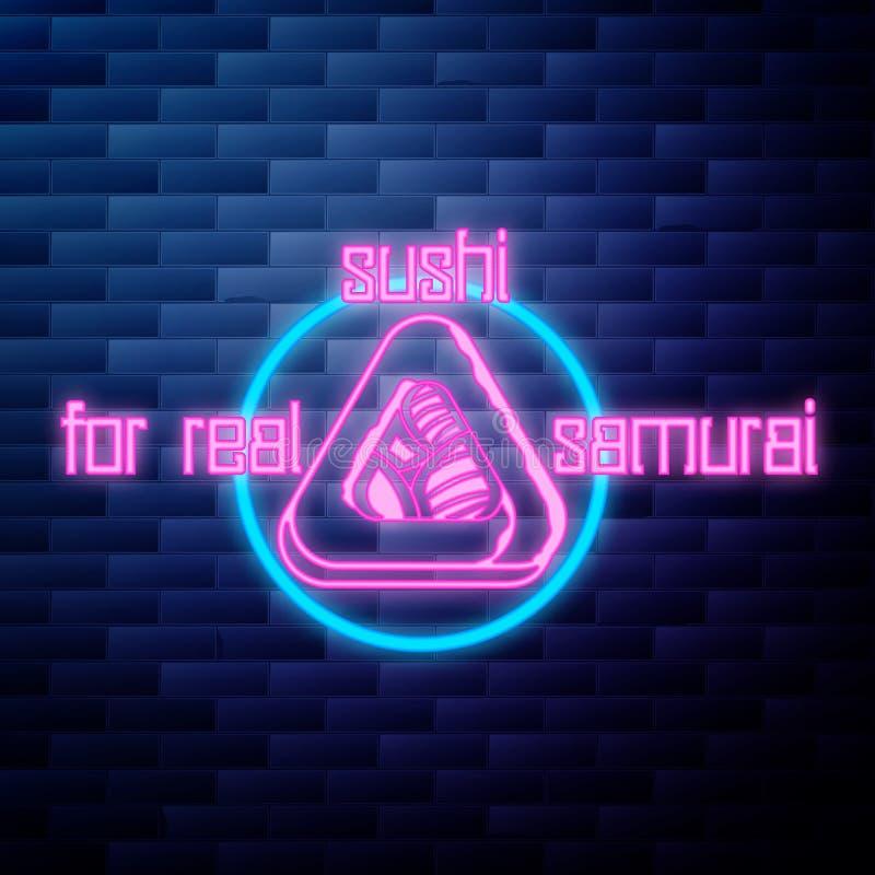 Vintage sushi emblem glowing neon sign stock illustration