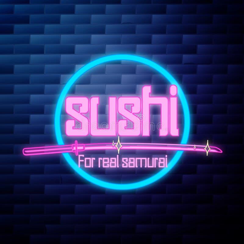 Vintage sushi emblem glowing neon sign vector illustration