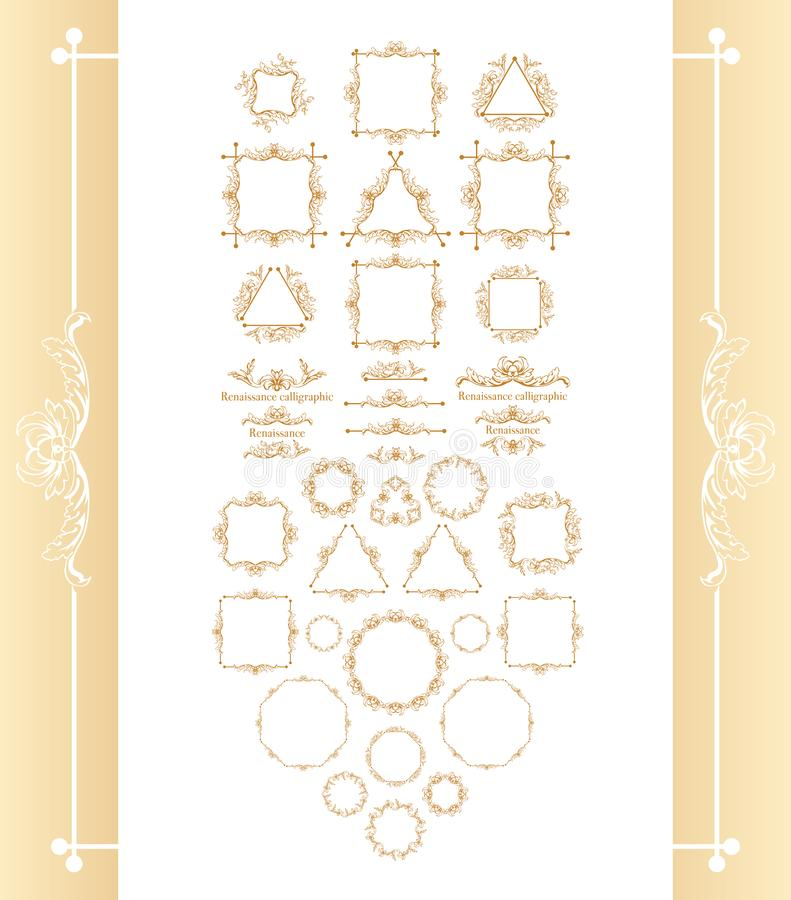 Vintage syle calligraphic set of borders, underscores, scrolling elements, ornate headpiece, page decor, dividers, book. Design and christmas style decorative stock illustration
