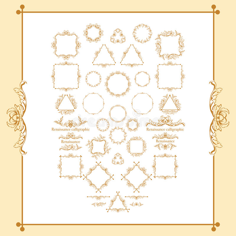 Vintage syle calligraphic set of borders, underscores, scrolling elements, ornate headpiece, page decor, dividers, book. Design and christmas style decorative royalty free illustration