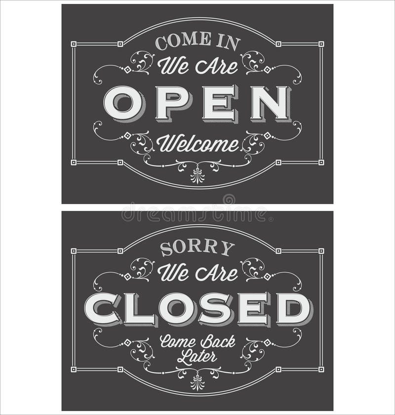 Vintage symbol lettering come in we're open and sorry we're closed royalty free illustration