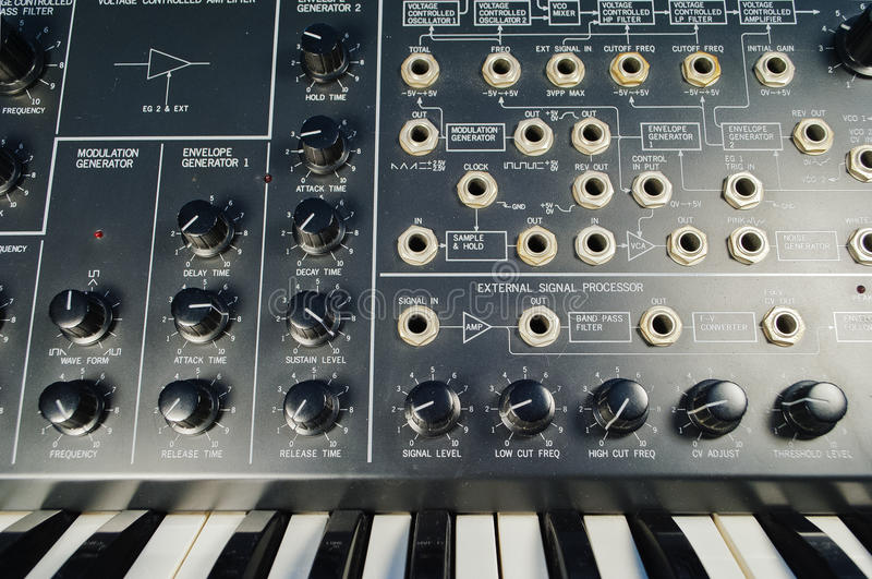 Vintage synthesizer and patch panel royalty free stock images
