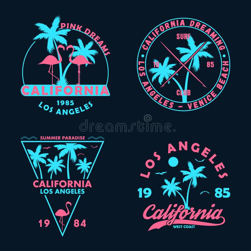 Vintage t-shirt design. Badges and emblems set with California prints. Graphics collection for apparel, labels and patches. stock illustration