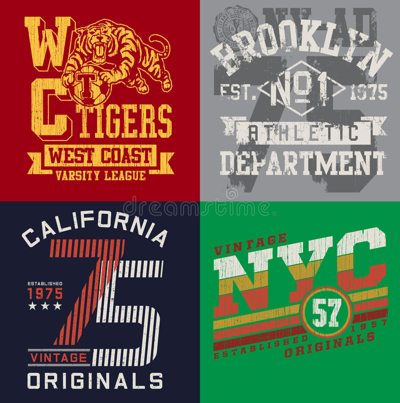 Free Vintage T-shirt Graphic Set 2 Royalty Free Stock Images - 41398639