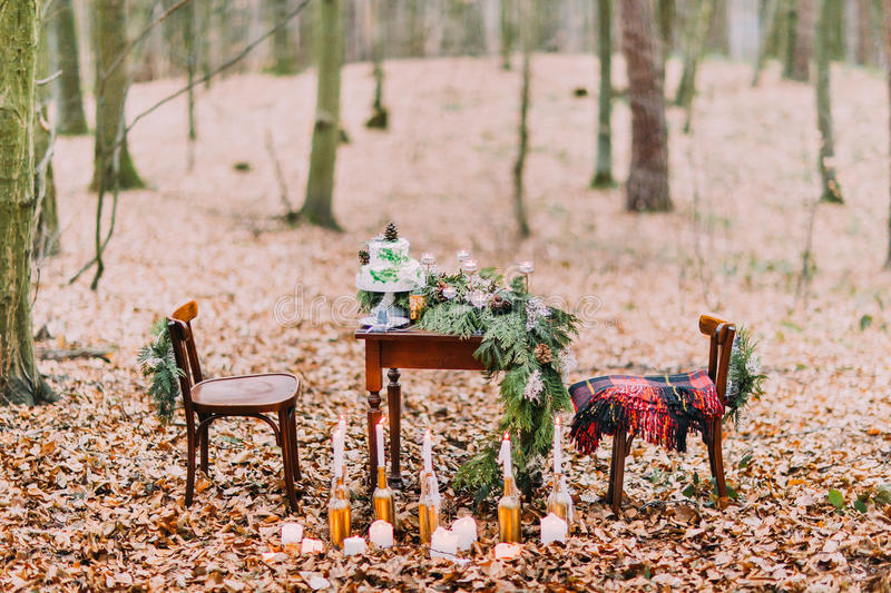 Vintage table with cake and candles in the autumn forest royalty free stock images