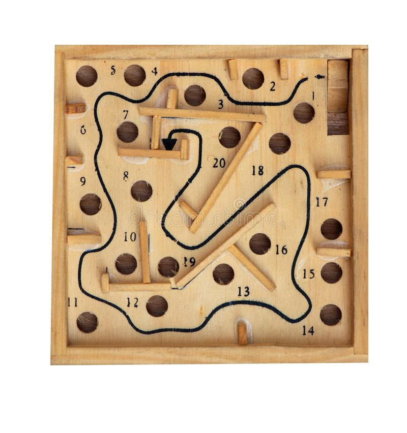 Vintage table game labyrinth isolated on white background stock image