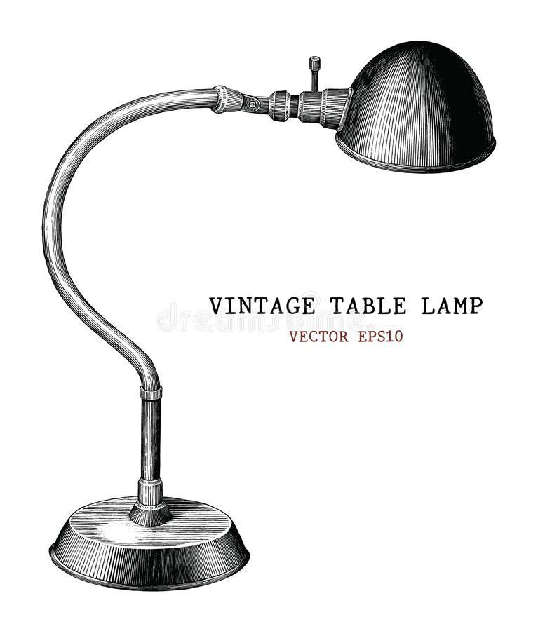 Vintage table lamp hand draw vintage engraving antique style iso vector illustration
