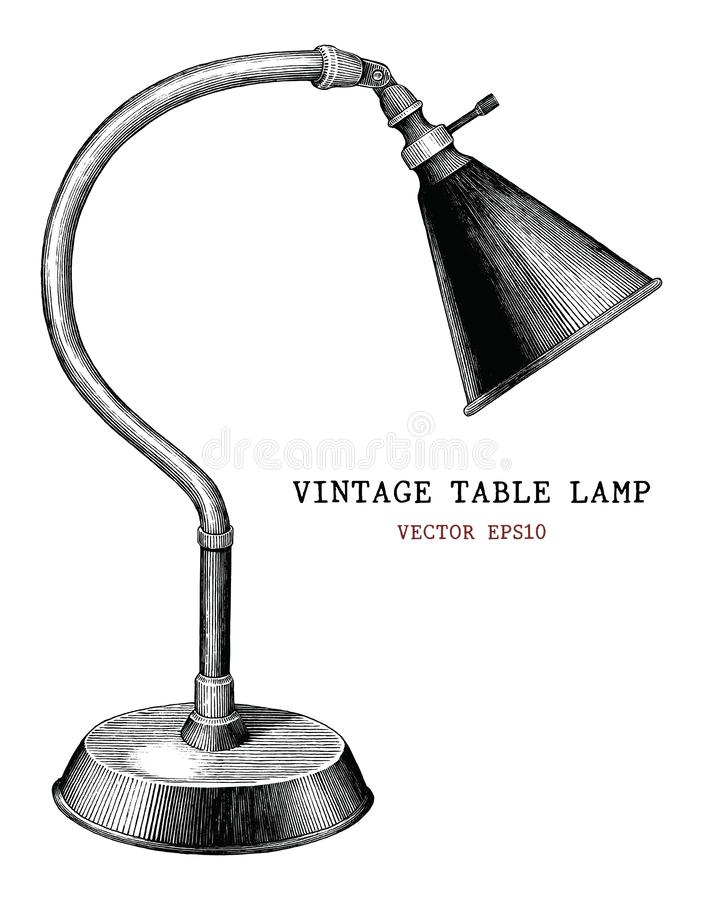Vintage table lamp hand draw vintage engraving antique style iso stock illustration