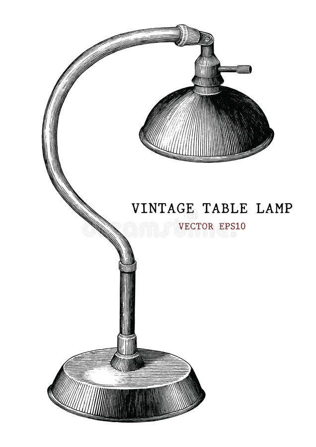 Vintage table lamp hand draw vintage engraving antique style iso royalty free illustration