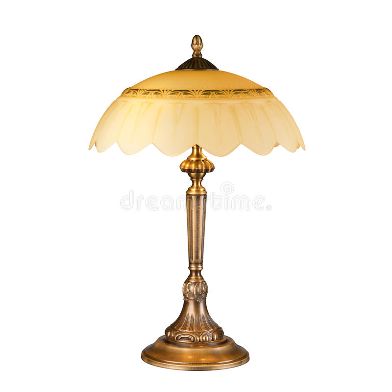 Vintage table lamp isolated on white stock photos