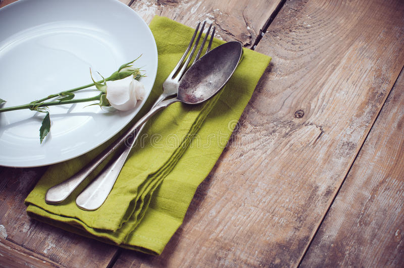 Vintage Table Setting With Rose Flowers Stock Images