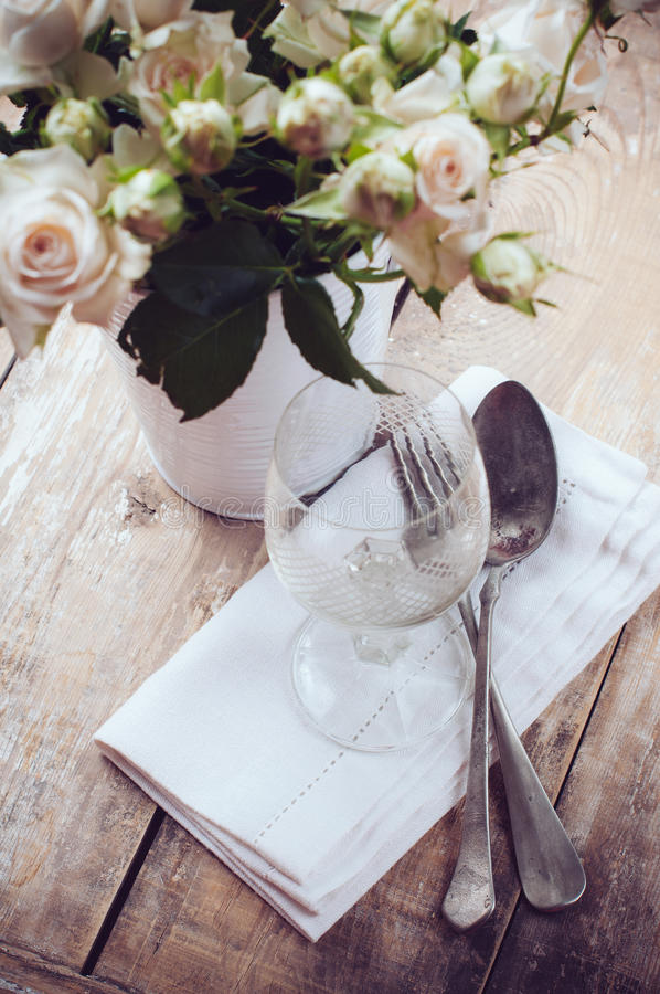 Download Vintage Table Setting With Roses Stock Photo - Image: 32579090
