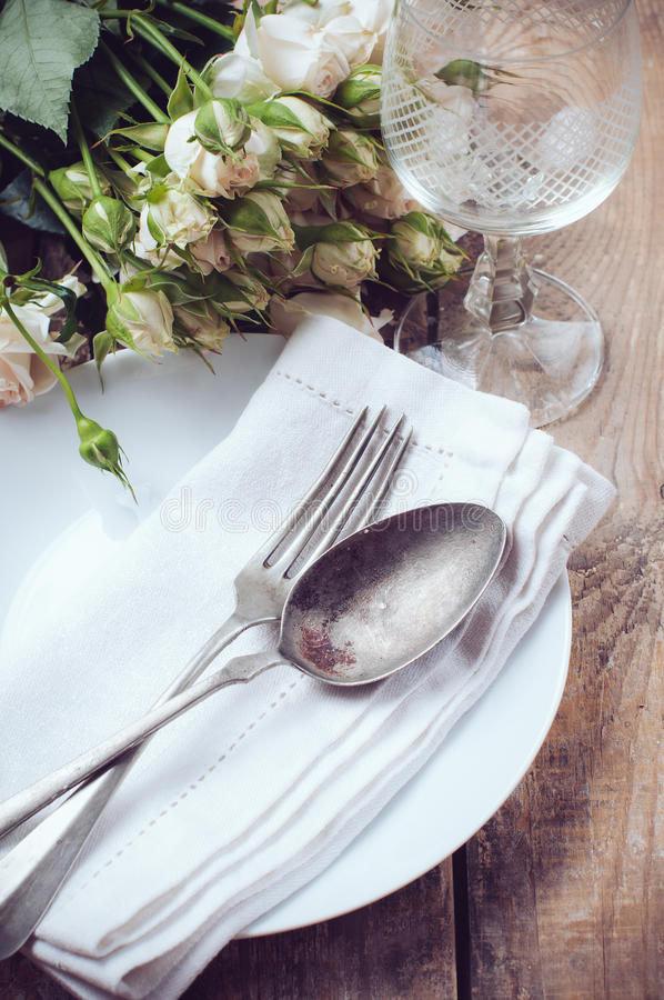 Download Vintage Table Setting With Roses Stock Photo - Image: 32579144